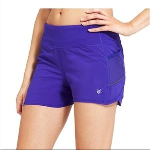 Athleta ready set go shorts blue 4""